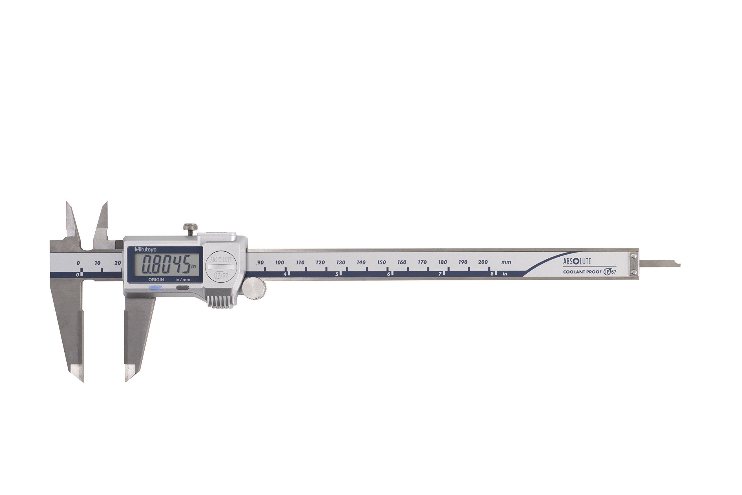 Mitutoyo 500-738-20 Digimatic Caliper with Statistical Process Control, Carbide OD/ID, 0-8'', IP67, 0.0005''/0.01 mm