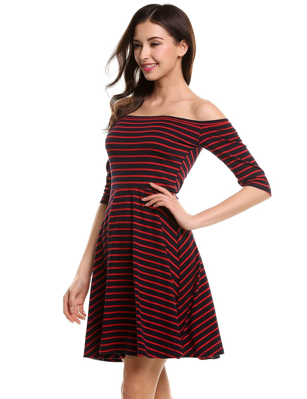 5fb9b7256d16 Meaneor - Vestito - Maniche a 3 4 - Donna rosso e blu 46 (Taglia  produttore L)  Amazon.it  Abbigliamento