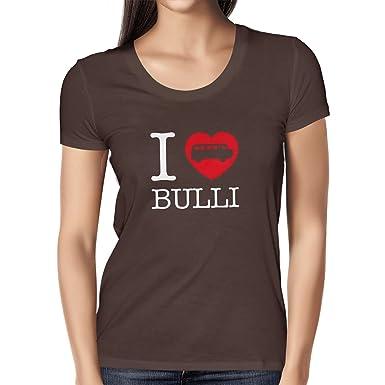 Texlab I Love Bulli T2 - Damen T-Shirt, Größe S, Braun