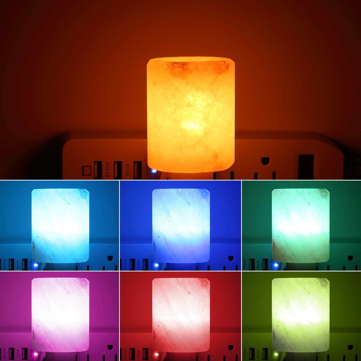 AMIR Salt Lamp, Natural Himalayan Crystal Salt Light with 2 Bulbs (1 Colorful Bulb), 11.2 Ounces Mini Hand Carved Night Light with UL-Approved Wall Plug for Air Purifying, Lighting and Decoration by AMIR (Image #3)