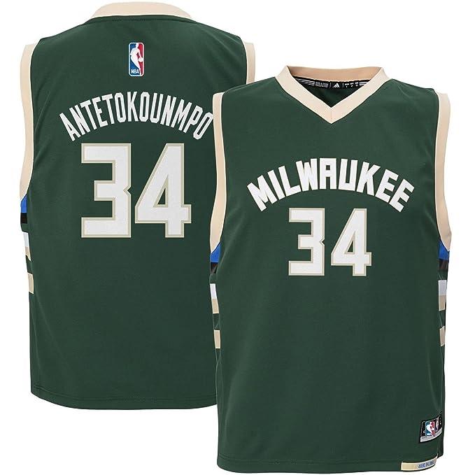 0faf281344b Amazon.com   Outerstuff Giannis Antetokounmpo  34 Milwaukee Bucks Youth  Road Jersey Green   Clothing