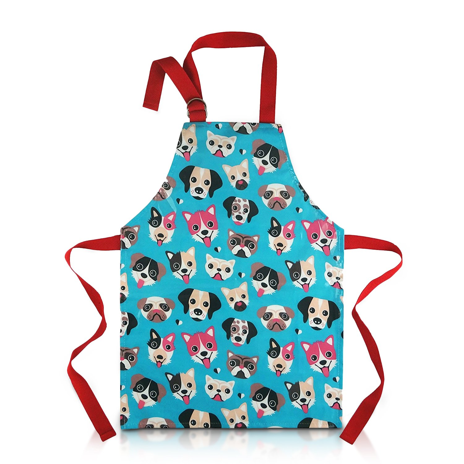Child Apron For Cooking and Painting - Unique Cute Dog Print in Wipe Clean PVC Coated Cotton for Toddlers Age 4-7 (medium, blue) by Dinky Ninky