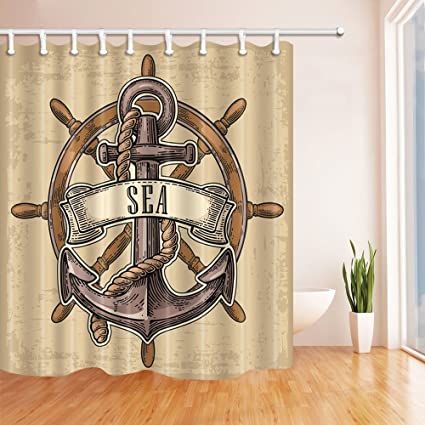 GoHEBE - Cortinas de ducha de decoración náutica, estilo retro, estilo nostálgico, con