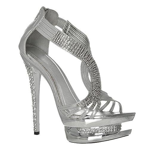 3cd4975b72c Womens Platform Sandals T Bar High Heeled Double Platform Diamante ...