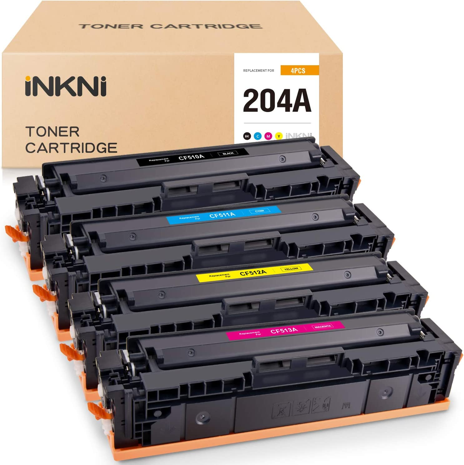 INKNI Compatible Toner Cartridge Replacement for HP 204A CF510A CF511A CF512A CF513A Used in Color Laserjet Pro MFP M180nw M180n M154a M181 M154nw M181fw M154 (Black Cyan Yellow Magenta, 4-Pack)