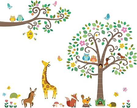Decowall Da 1502p1512 Gross Blatter Baum Und Zweige Waldtiere Tiere Wandtattoo Wandsticker Wandaufkleber Wanddeko Fur Wohnzimmer Schlafzimmer Kinderzimmer Amazon De Baumarkt