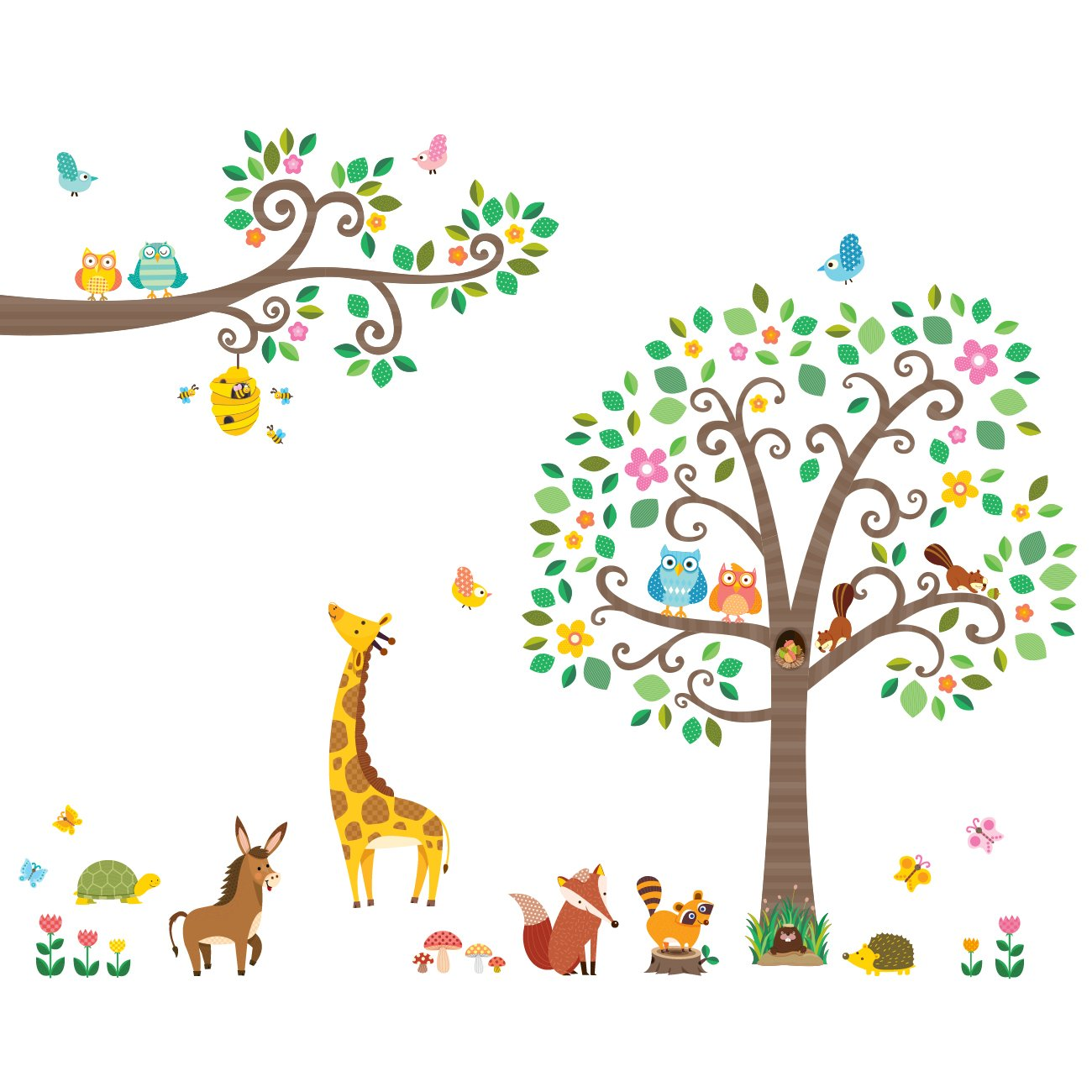 Decowall DM-1502P1512 Large Scroll Tree and Branches with Animals Kids Wall Decals Wall Stickers Peel and Stick Removable Wall Stickers for Kids Nursery Bedroom Living Room