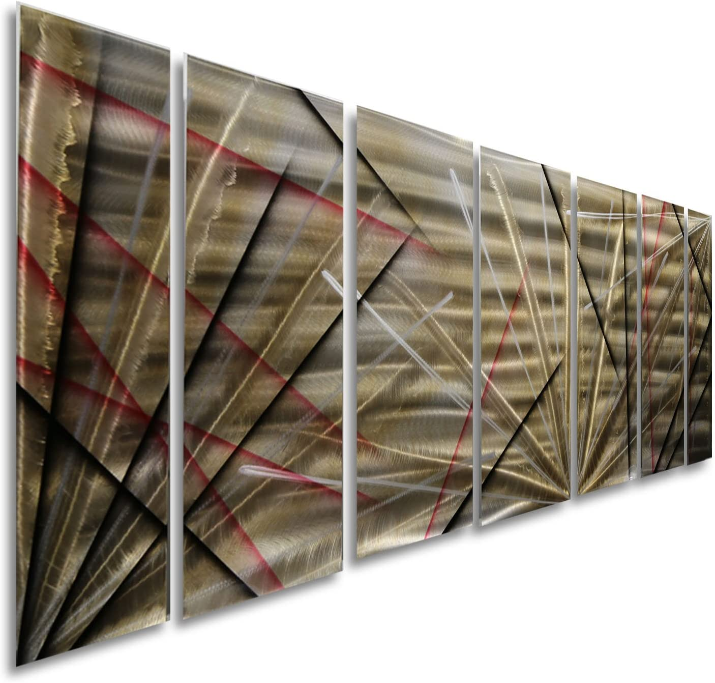 """Statements2000Abstract Large Metal Wall Art Hanging Panels Sculpture 3D Painting by Jon Allen, Gold/Silver/Black/Red, 68"""" x 24"""" - Meteor Eclipse"""