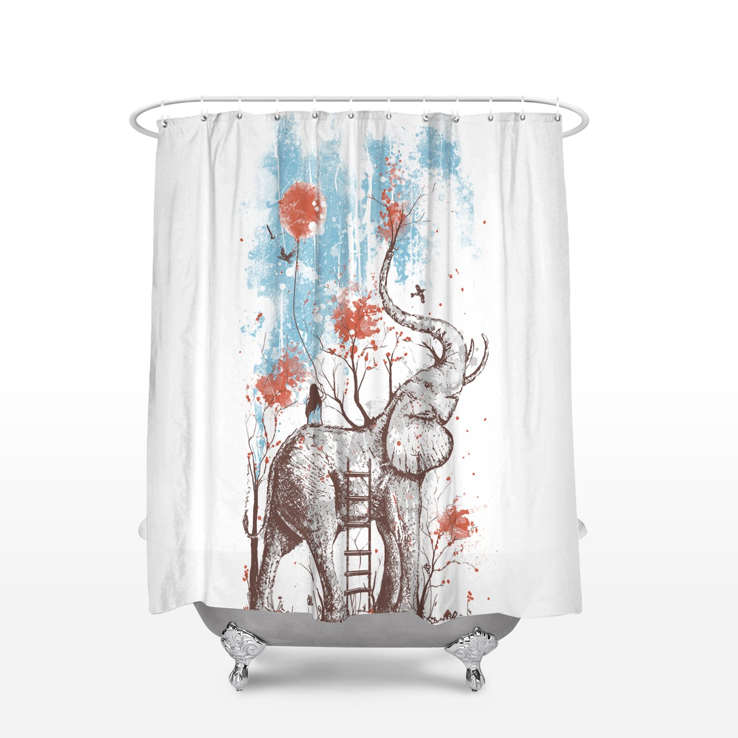 Karola Cute Elephant Balloon Girl Shower Curtain Waterproof Polyester And Mildew Resistant Fabric Bath Curtains Liner Home Art Paiting Tree Grass White