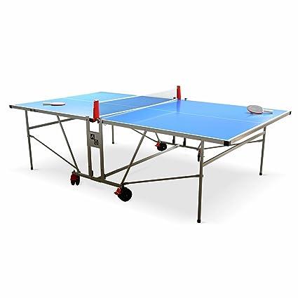 Alices Garden Table De Ping Pong Outdoor Bleue Table Pliable Avec 2 Raquettes Et 3 Balles Pour Utilisation Extérieure Sport Tennis De Table