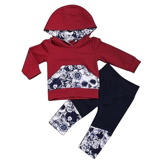179dd15b528d Amazon.com  puseky Baby Boys Girls Skull Long Sleeve Hoodie Sweartshirt  Tops Pant Hooded Outfits Set  Clothing