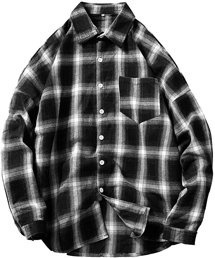 WWricotta LuckyGirls Camisa Formales Negocio para Hombre Manga Larga Estampado de Cuadros Slim Fit Remeras de Traje Streetwear Casual con Bolsillo Tallas Grandes (M-5XL)