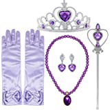 Tacobear Princess Dress up Accessories 5 Pieces Gift Set for Sofia Crown Scepter Necklace Earrings Gloves Lavander Purple