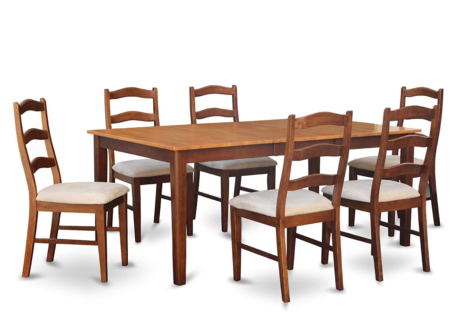 HENL7-BRN-C 7 Pc Dining room set-Dining Table with Leaf and 6 Dining Chairs.