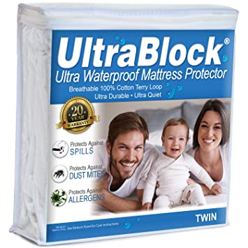 Amazon.com: UltraBlock Waterproof Twin Size Mattress Protector with Soft Cotton Terry Cover: Home & Kitchen
