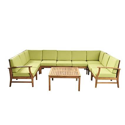 Amazon Com Judith Outdoor 9 Seater Acacia Wood Sectional Sofa Set