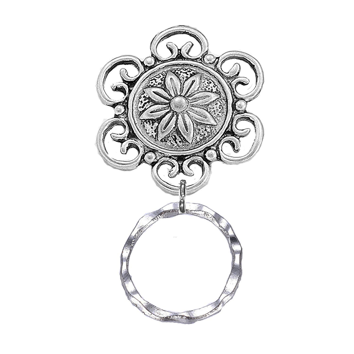 Eyeglass Holder Brooch in antique silver in a delightful flower pattern. Your choice of back type. FREE GIFT BOX! Goes well with any apparel.