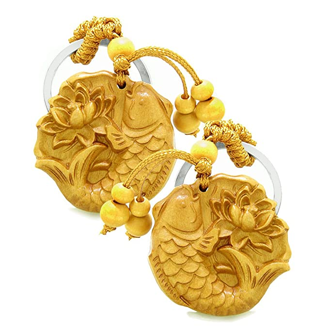 Amazon Amulet Fortune Fish Blooming Lotus Magic Charms