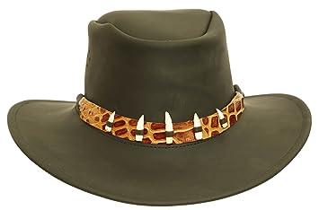 Kakadu Traders Australia Sombrero de Piel en Negro y marrón con Sombrero de  Lazo falschem cocodrilo 02fa731cebf