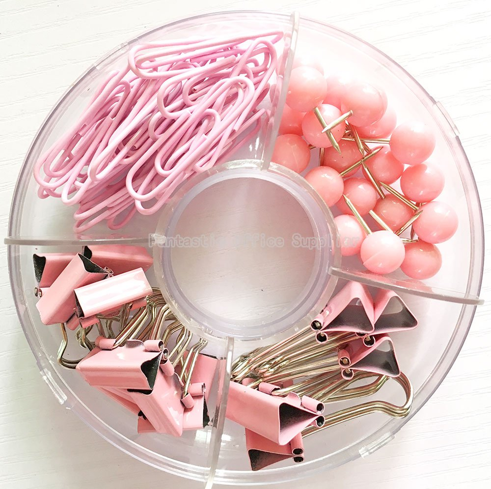 65 PCS Pink Push Pins/Paper Clips/Binder Clamps/Binder Clips, Pink Office Supplies Bulletin Boards Thumb Tacks Set Desk Accessories for School Supplies by Fantastic Office Supplier (Image #2)