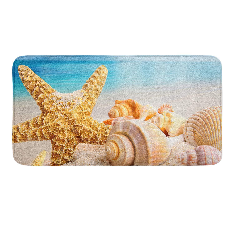 CIGOCI Extra Absorbent, Soft, Duarable AndAnti-Slip Memory Foam Toilet-Shower Mat - 18 x 36 Inch,Extra Absorbent,Soft,Duarable and Quick-Dry Shaggy Rugs, 3D PrintStarfish Conch Seashell