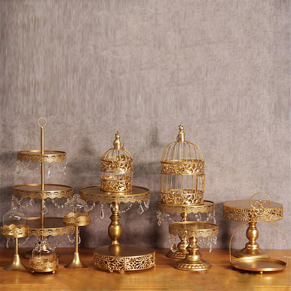 12 Pcs/set Golden Cake Stands and Pastry Trays,Metal Birdcage Cupcake Dessert Pedestal/Display/Plate/Stands and Trays with Crystals and Beads,Party Birthday Party Wedding Decorations for Tables by Gooday (Image #8)