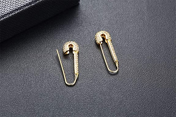 14K Gold Polished Safety Pin Stud Push Back 11.1x3.4mm Earring For Women And Girls