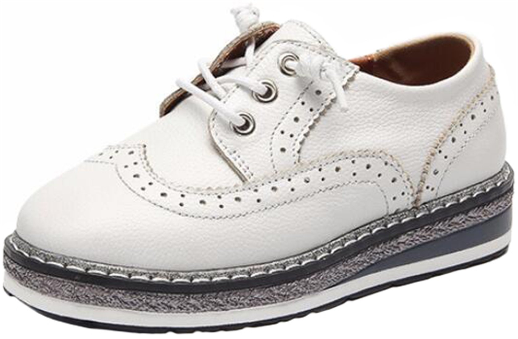 PPXID Boy's Girl's Preppy Style Lace up Leather Platform Brogue Carving Oxford Shoes-White 4.5 US Size