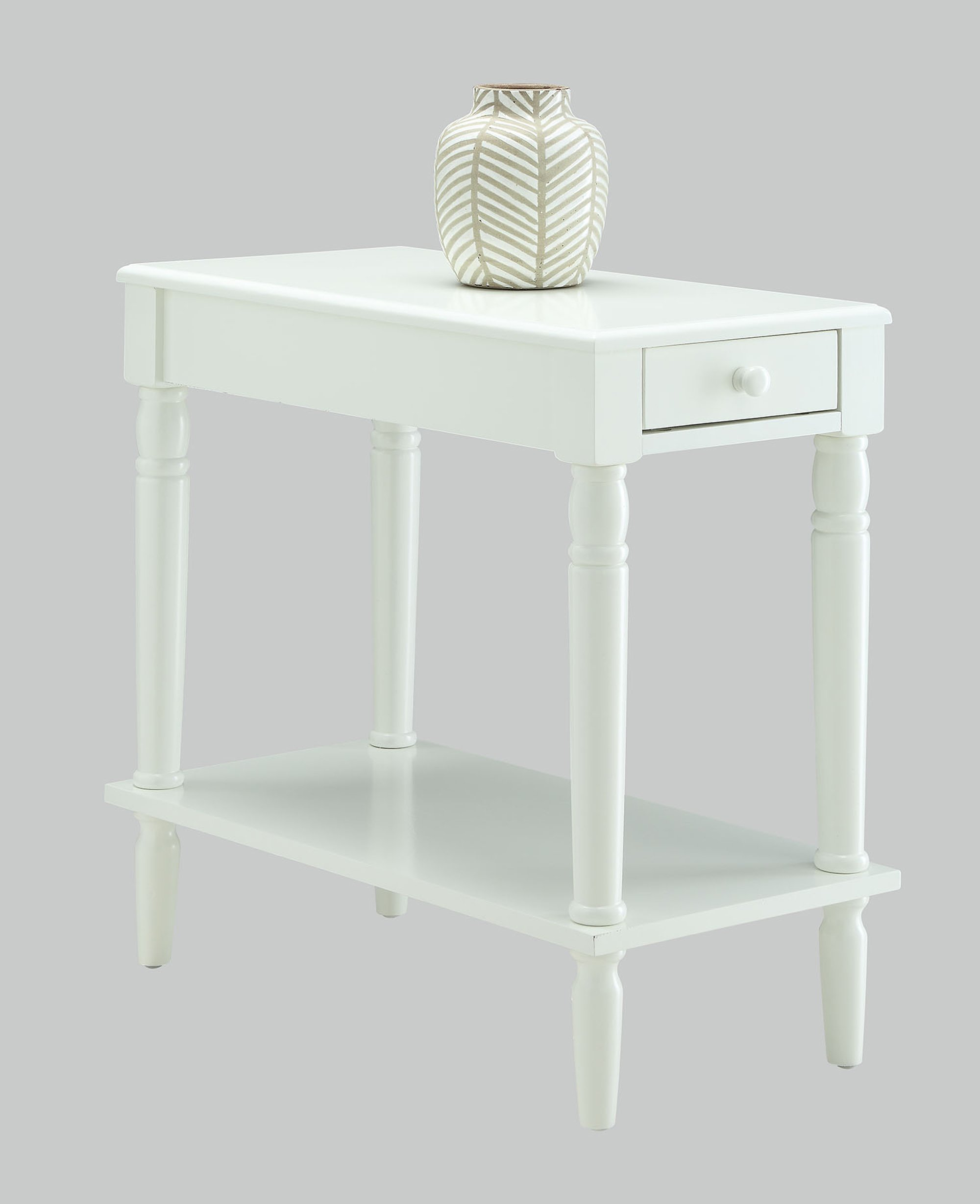 Convenience Concepts French Country No Tools Chairside Table, White