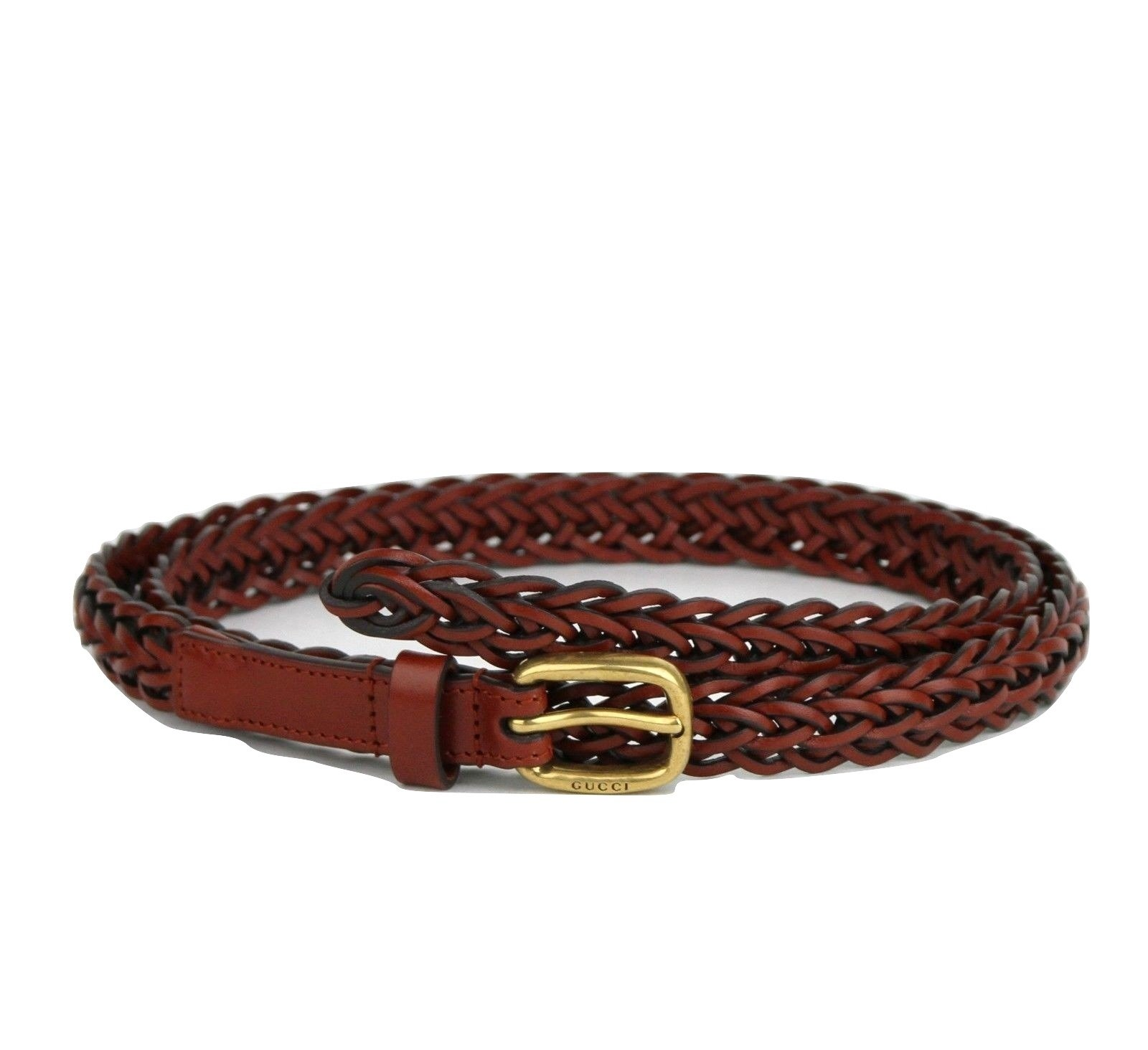 Gucci Women's Braided Red Leather Skinny Belt 380607 7508 (80 / 32)