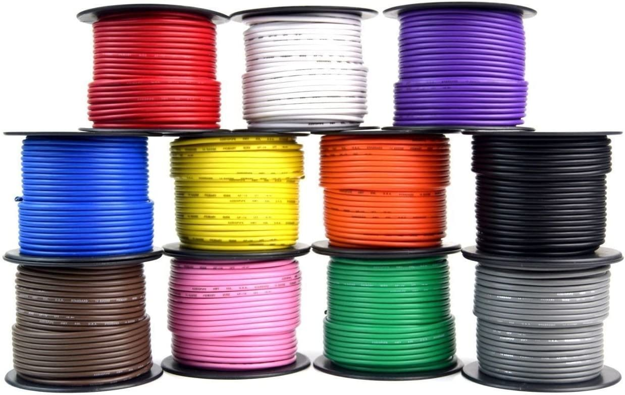 14 GA 100 Feet Primary All Purpose Auto Remote Power Ground Wire Cable 11 Rolls 71cc9Do1V5L