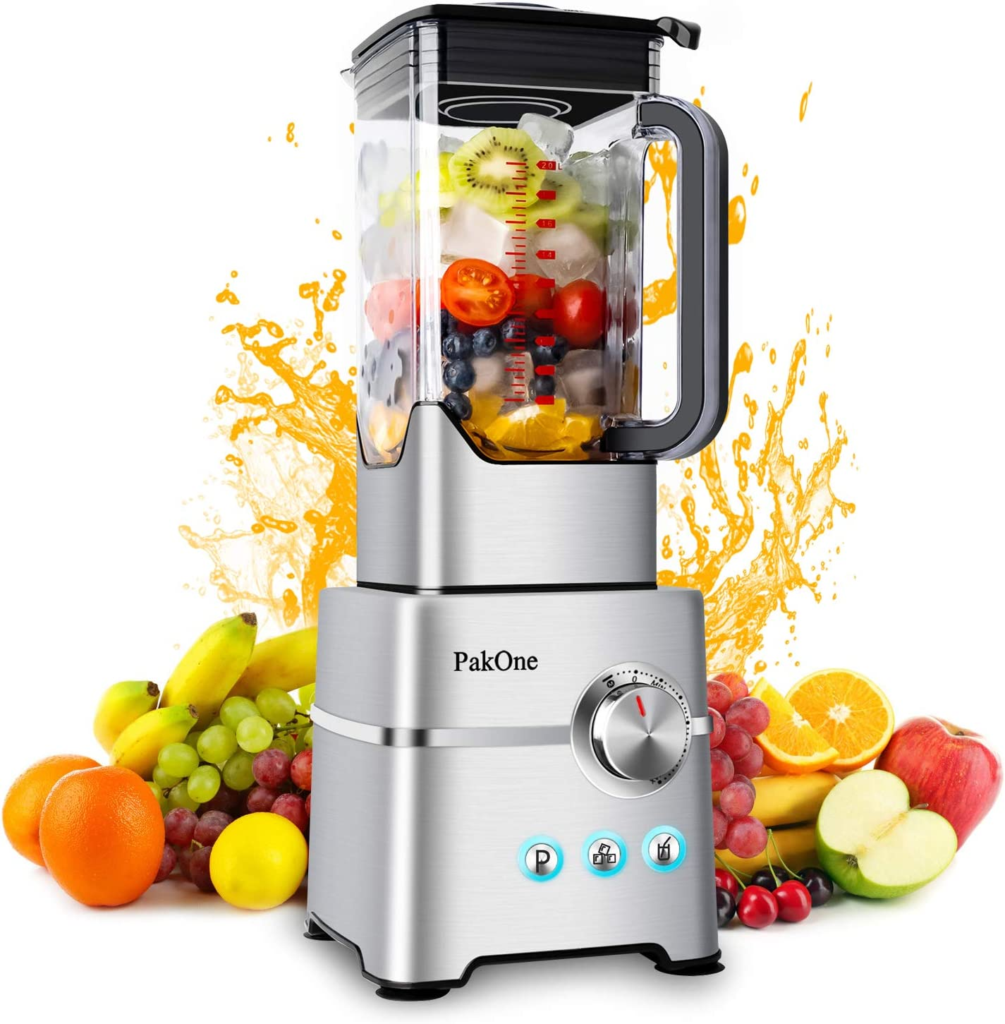 Blender Smoothie Professional Countertop Blender for Kitchen with 1800W Base,Variable speeds Control,for Puree,juices,shakes,sauces 2L Glass Jar,6 Sharp Blade Smoothies,Grind, Shakes, Ice Crush (Only)