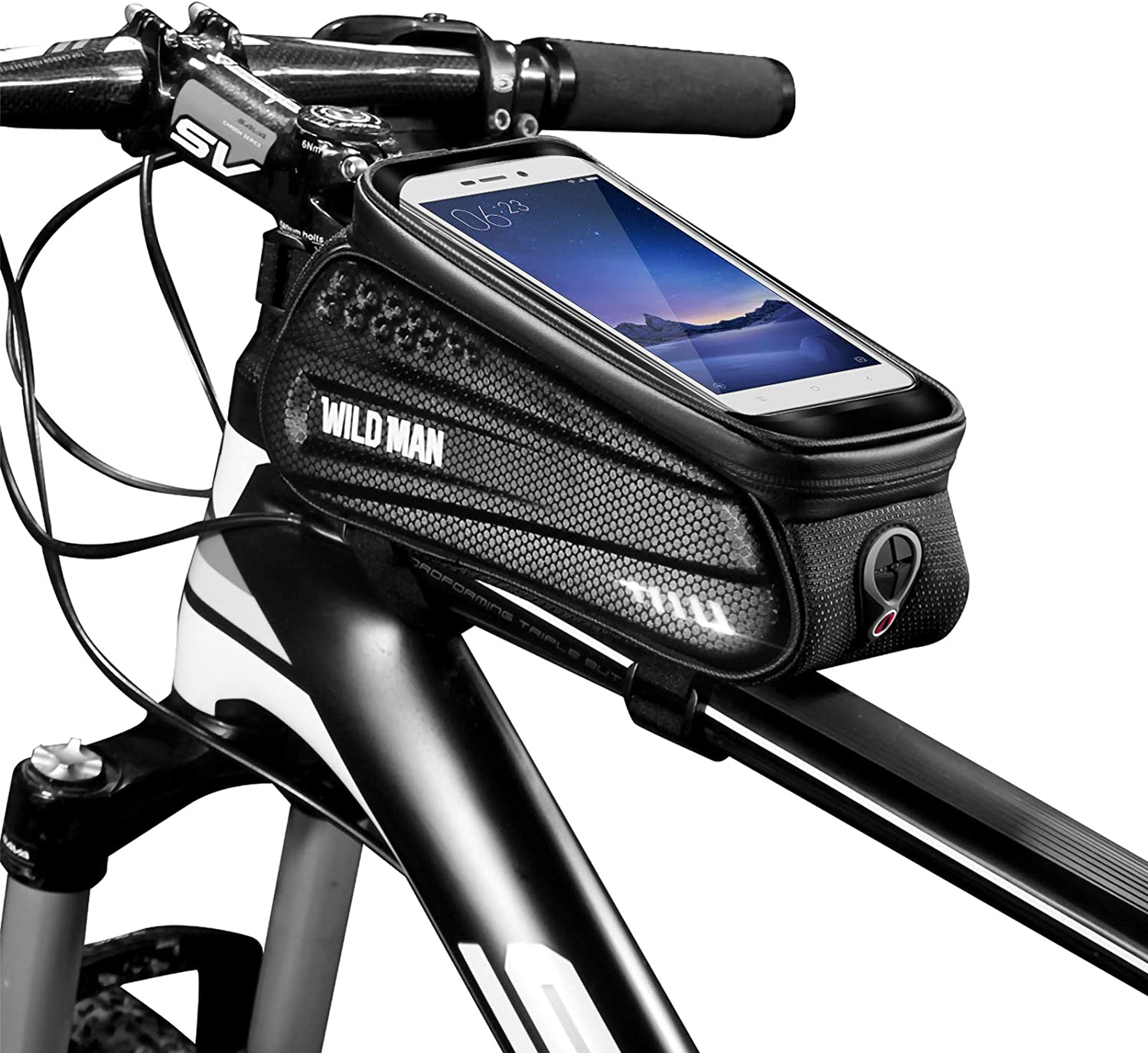 Number-one Bike Frame Bag Waterproof Bike Phone Mount Bag Bike Handlebar Bag with Touch Screen Headphone Hole Phone Holder for Cellphones up to 6.5 Inches Bicycle Front Frame Bag