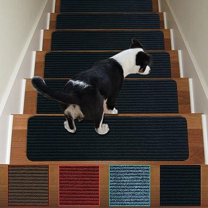 Stair Treads Non Slip Carpet Indoor Set Of 13 Black Carpet Stair Tread  Treads Stair