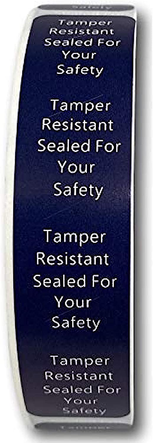 500 Tamper-Evident Food Labels | Adhesive Seal Food for Your Safety | Label Stickers Help Increase Security During Delivery | (0.75 x 3.5 in) Navy Blue