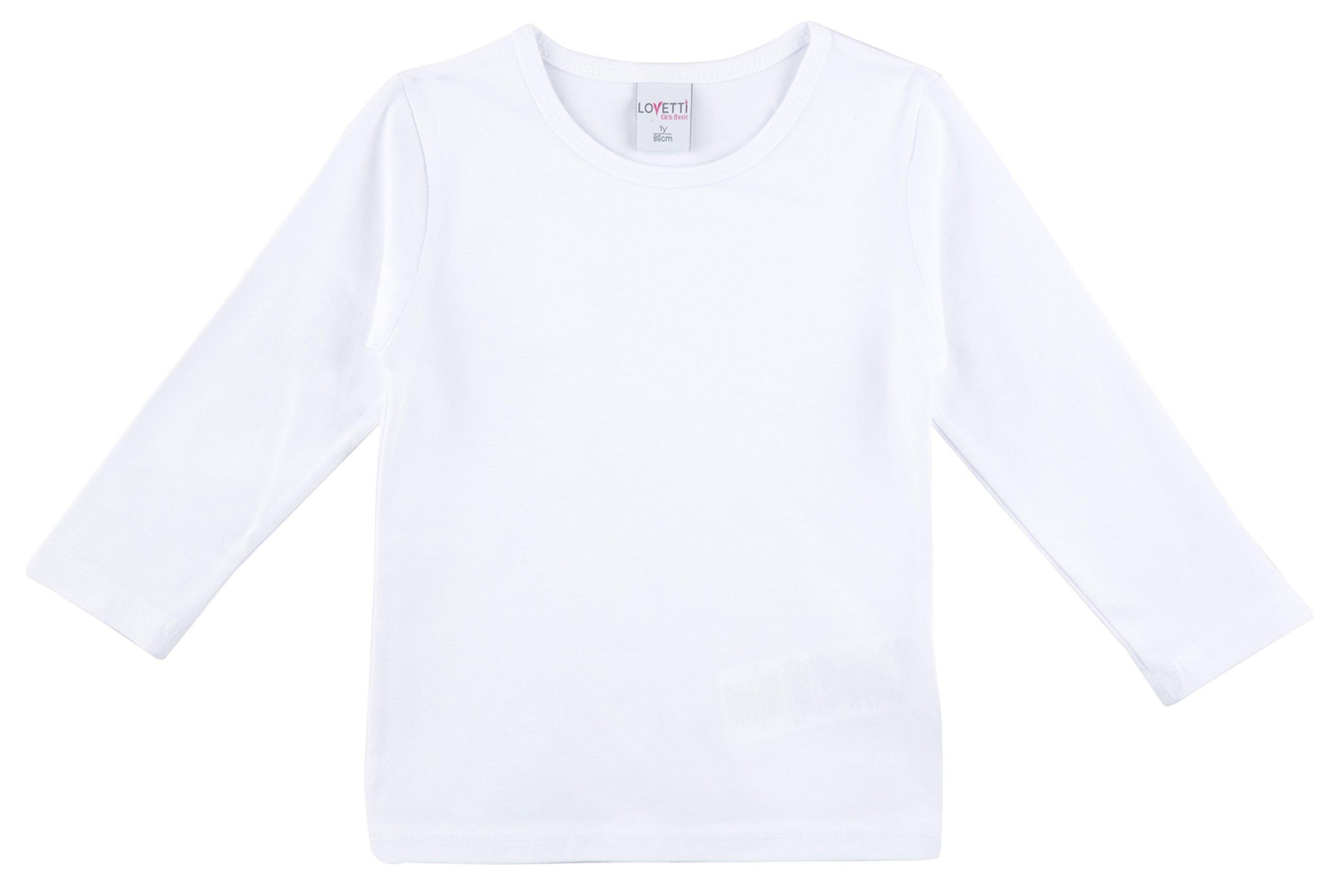 Lovetti Girls' Basic Long Sleeve Round Neck T-Shirt 8 White