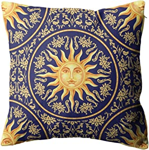 "Joaffba Throw Pillow Cover Celestial Baroque Blue Gold Decorative Pillow Case Home Decor Square 18""x18"" inch"