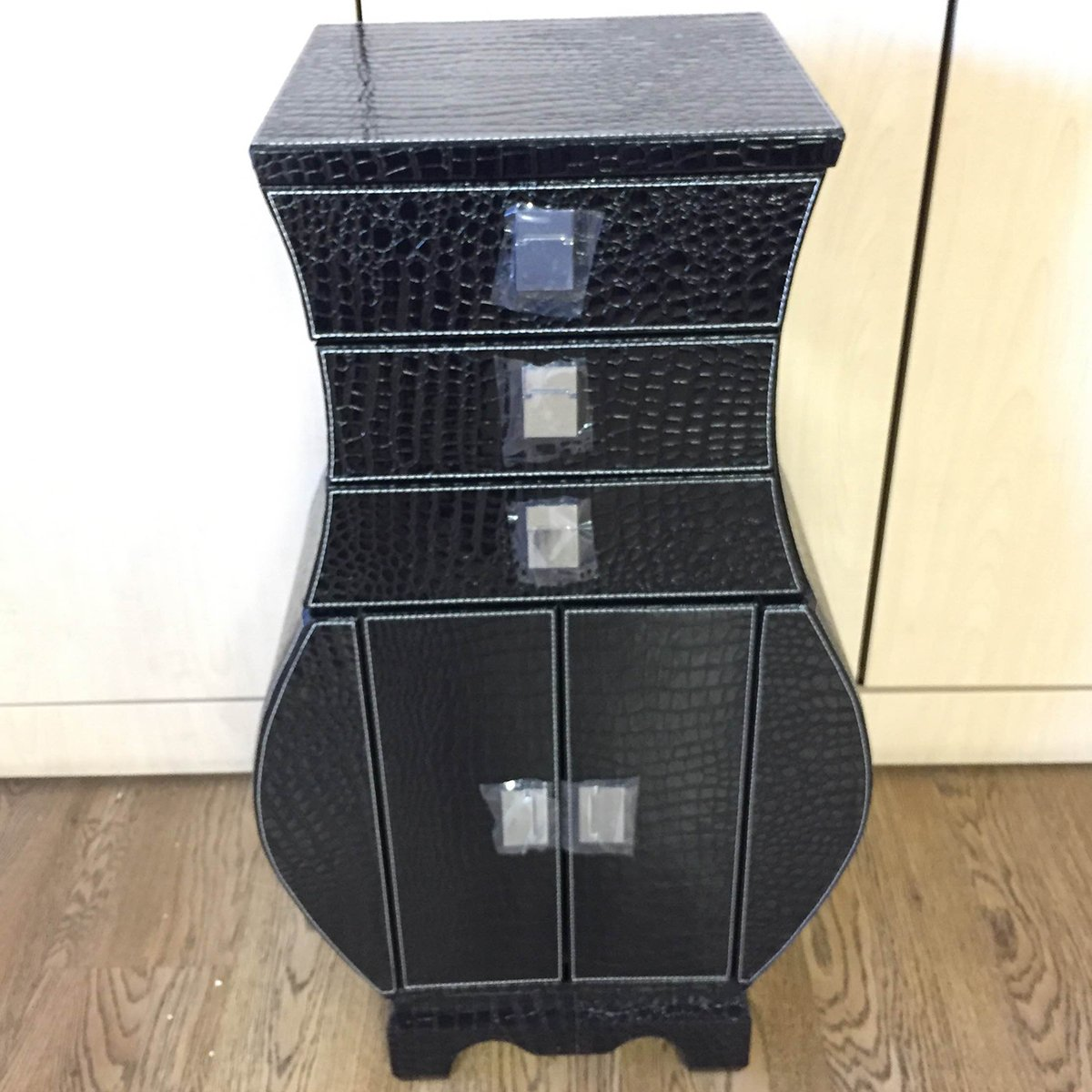Negro efecto piel en el pecho de cajones Armario en forma de jarr/ón Alta calidad Unique Home muebles h87.5/cm