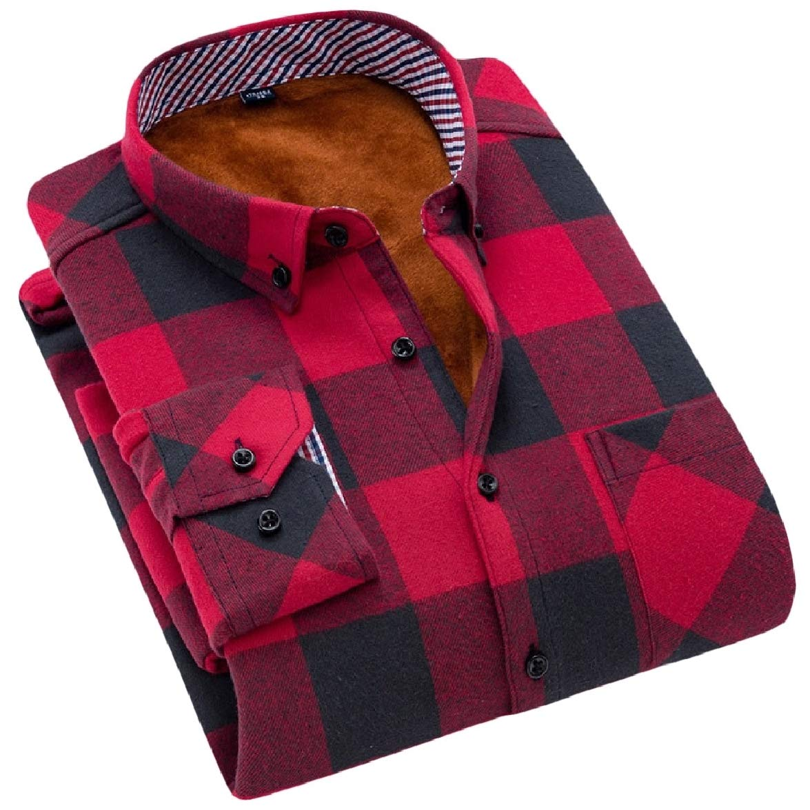 Abetteric Mens Thick Velvet Keep Warm Plaid Fitted Lapel Collar Flannel Shirt