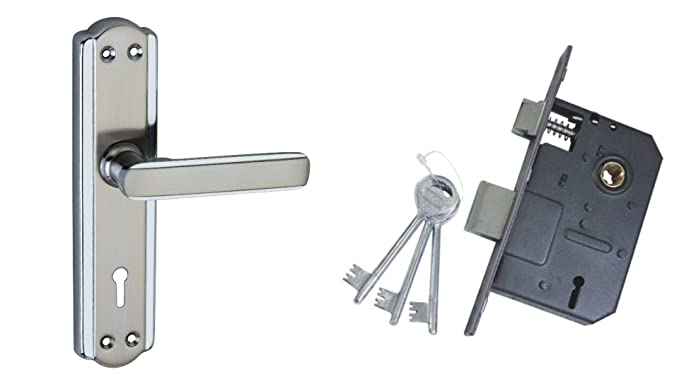 Atom Mortise Lock Set 606 CP Satain Finish with Two Sided Key Lock
