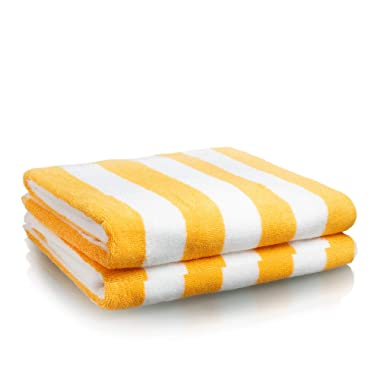 Oversized Beach Towel - Premium Large Beach Towel (30 x 70 Inches) - Cabana Stripe Pool Towels - 100% Cotton XL Towels Available in Blue and Yellow (Yellow - 2 Pack)