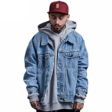 Oversized Men Wash Denim Jeans Jacket Fashion Short Holes Coat Long