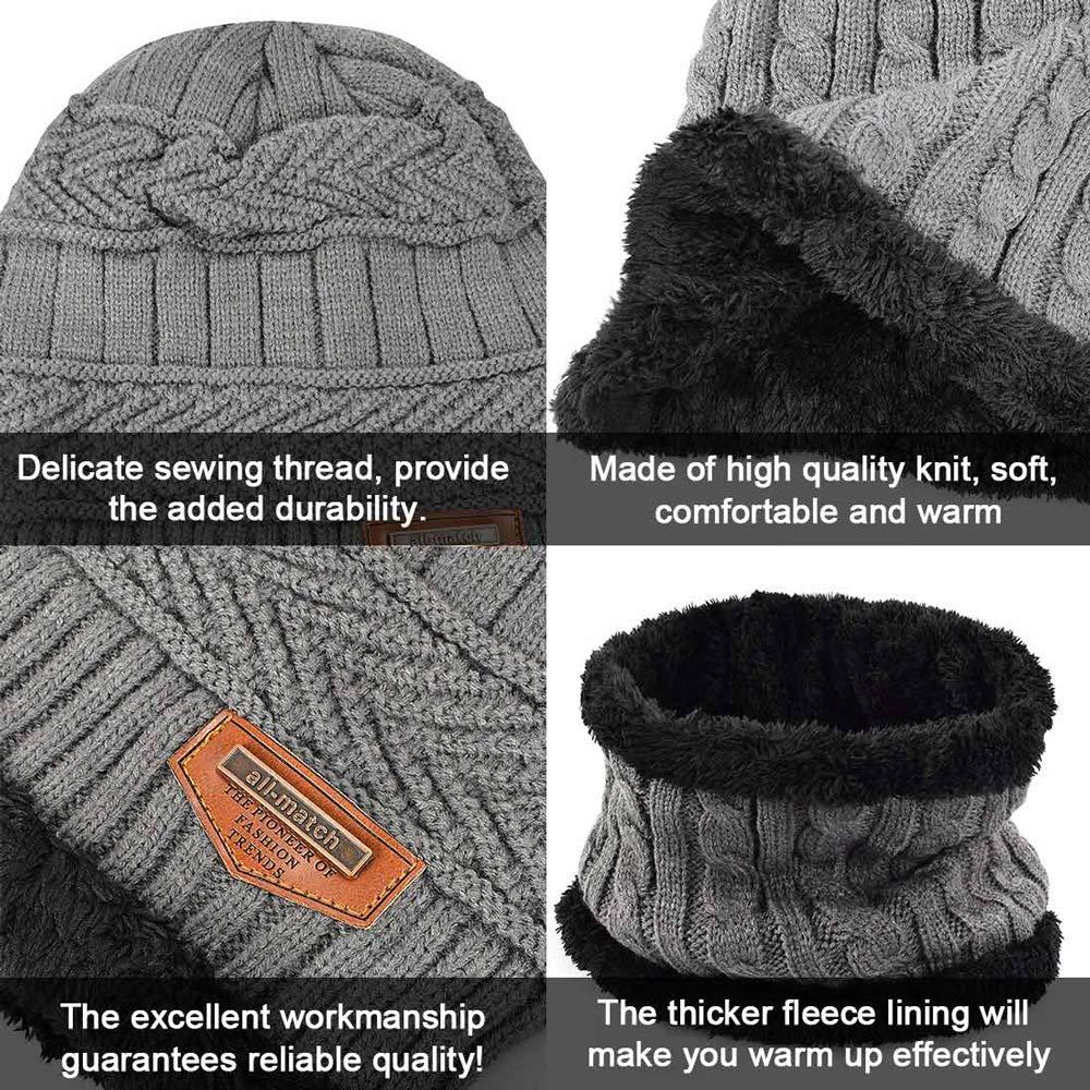 gorro de esqu/í para deportes al aire libre accesorios de invierno heekpek Conjunto de bufanda de invierno para hombre y mujer gorro de invierno c/álido gorro de esqu/í grueso