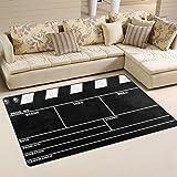 WOZO Classic Movie Clapboard Black Area Rug Rugs Non-Slip Floor Mat Doormats for Living Room Bedroom 60 x 39 inches