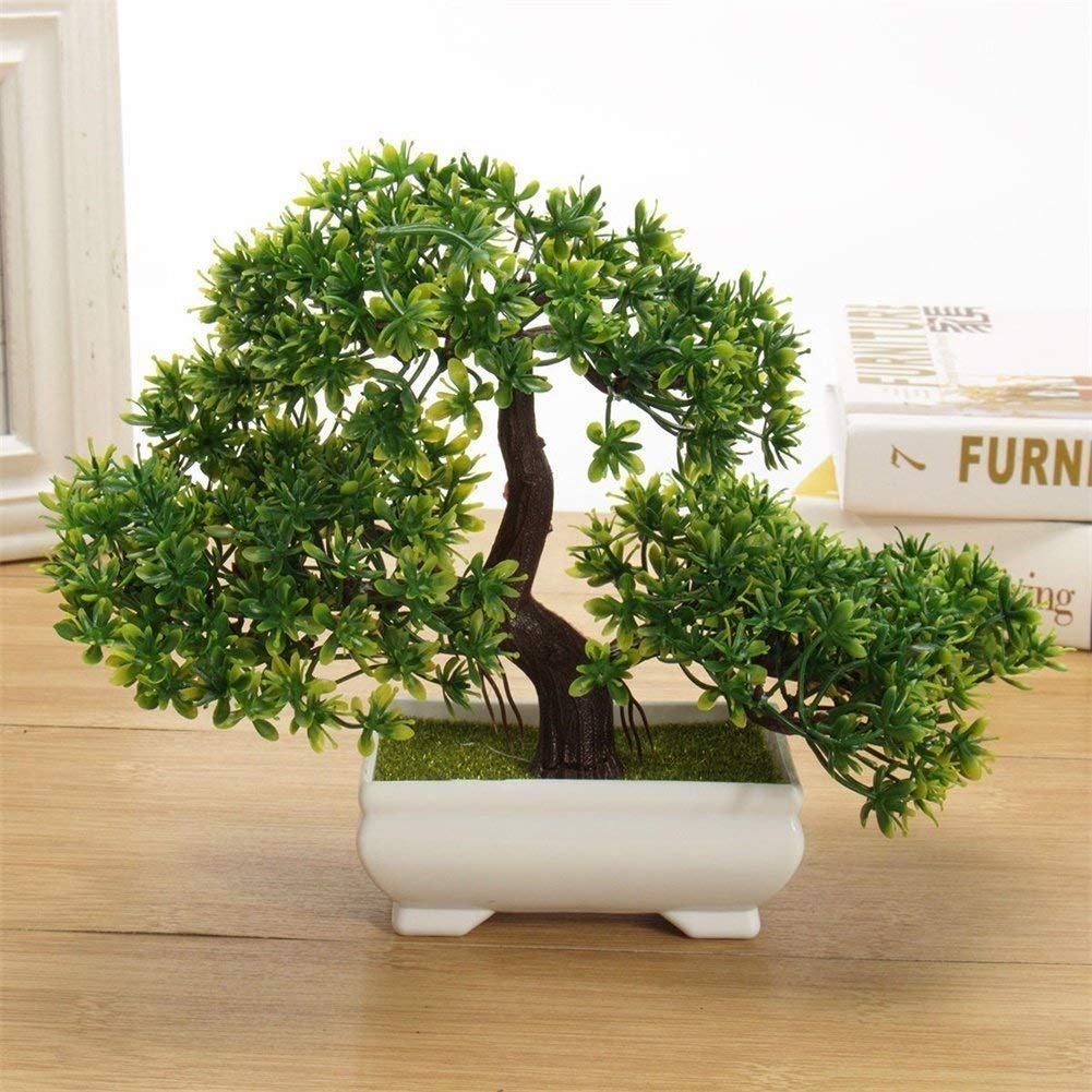 Decoratinglives Mini Cute Artificial Plants Bonsai Potted Plastic Faux Green Grass Fake Topiaries Shrubs For Home Decor Buy Online In China At China Desertcart Com Productid 90799762