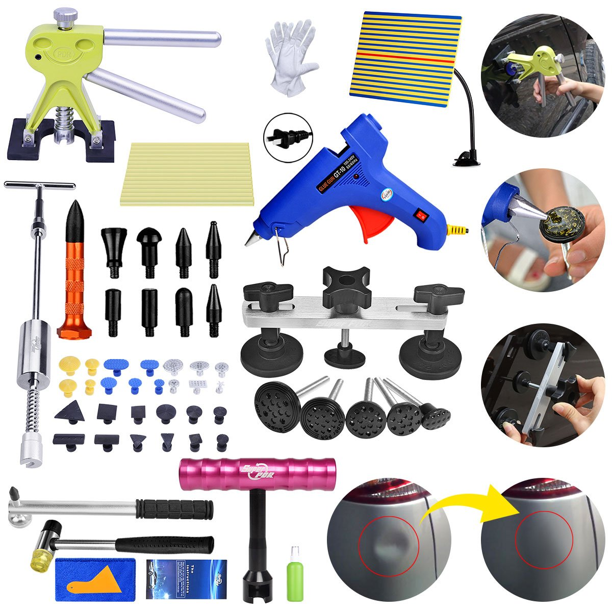 Fly5D 56pcs Paintless Car Dent Removal Tools Kit Dent Damage Repair Tool Set with Light Board Dent Lifter Puller Pull Out a Dent