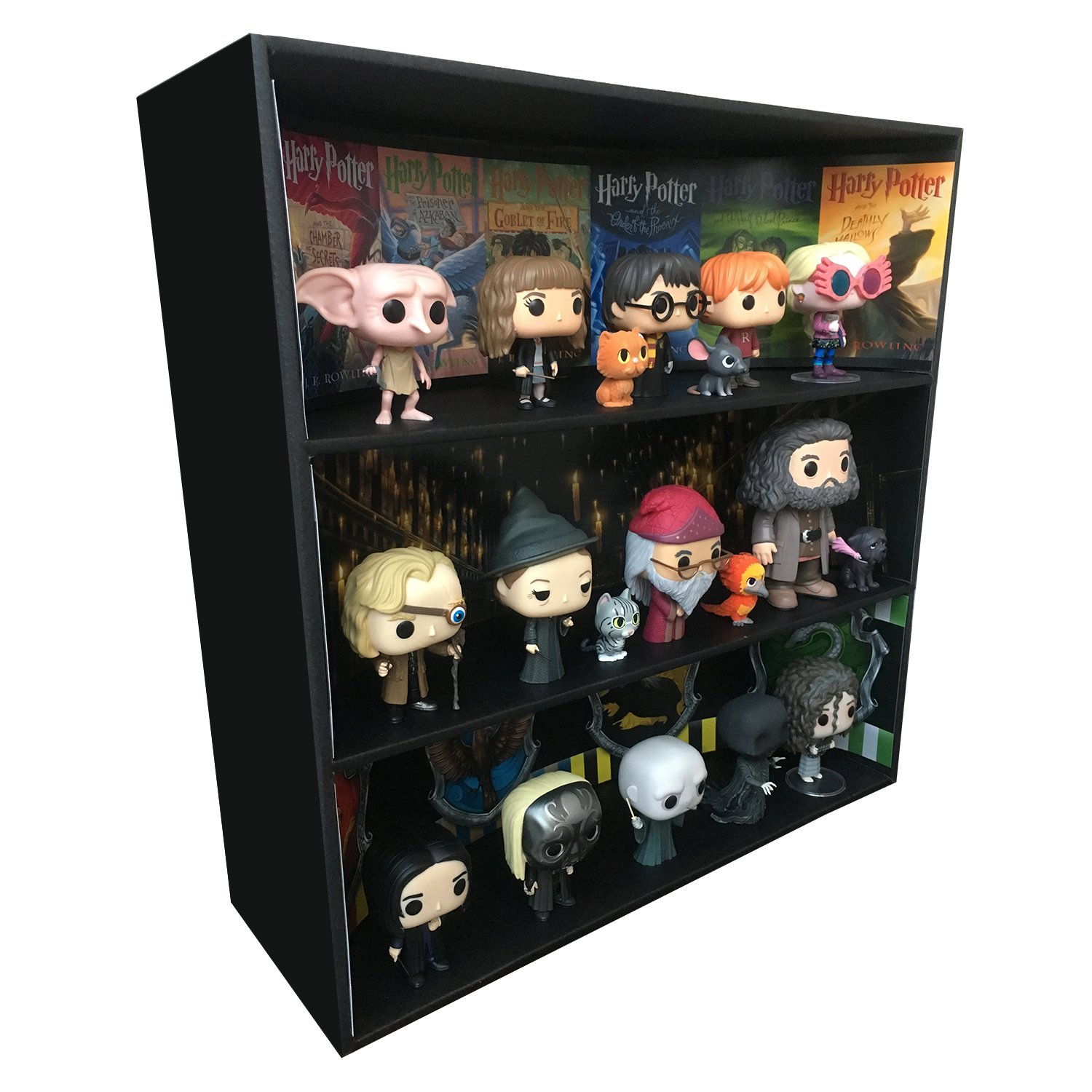 1 Display Geek Exclusive Stackable Toy Shelf for 4 in. Funko Pops with 3 backdrop inserts, Black Corrugated Cardboard Inc.
