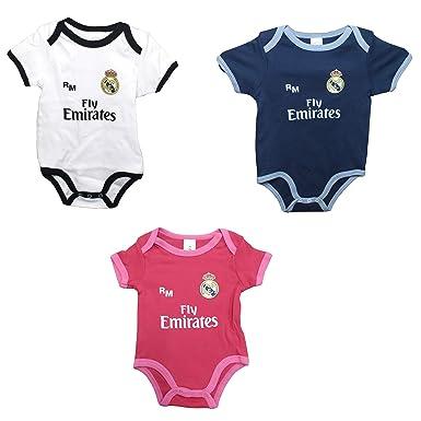 Set 3 Body Real Madrid Niños - Producto Oficial - Temporada 2018/2019 - Primera, Segunda y Tercera Equipación