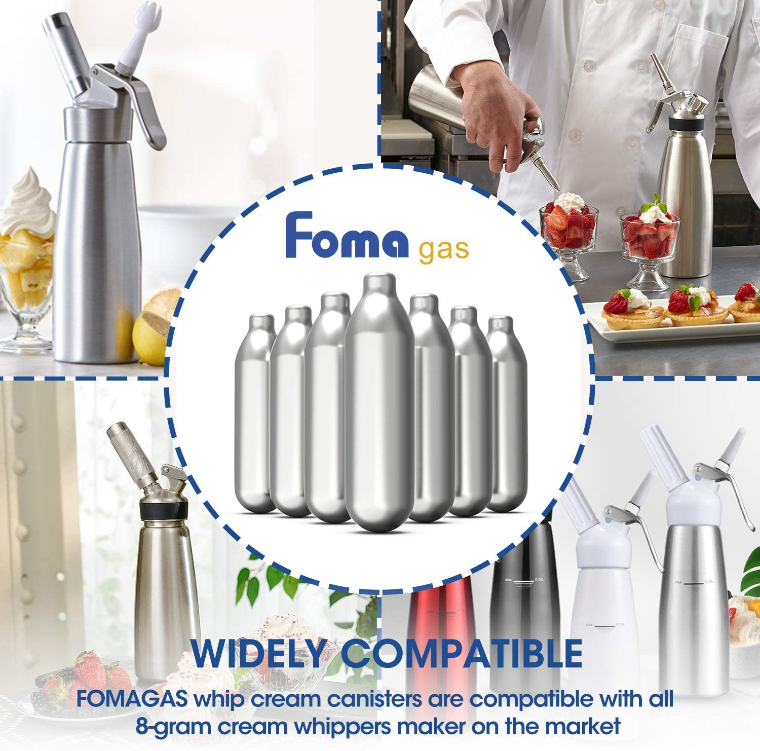 100 Packs FOMAGAS Whipped Cream Chargers