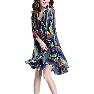 Monissy Femmes Cap Manteau Nouvelles De Grande Taille A Manches Longues En Mousseline De Soie Gilet Chemise Rayé Multicolore